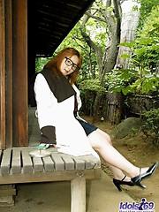 Naughty Asian slut Yamazaki enjoys exposing her large fuckable titties