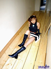 Naughty Akane is awaiting her date for the sexy costume party and fucking friend