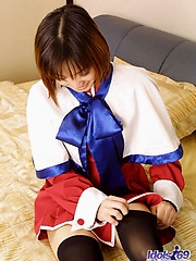 Akane gets her sailor suit taken off by her guy as he ties her up
