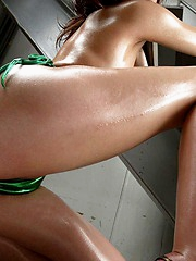 Naughty Wakako is all oiled and ready for a hot time in the sack with her date