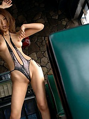 Asian model Jun is a naghty babe who enjoys flashing her nice tits and ass