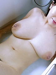 Naughty Anna flaunts her big tits and her hairy pussy before her date