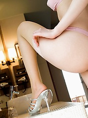 Horny Japanese slut shows off her excellent pussy to her adoring men