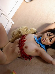 Asian cutie in her cowgirl clothes flashes her hot tits and hairy pussy