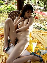 Kurumi Morishita Asian model poses nude outside showing perfect body