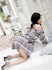 Takami Hou cute schoolgirl likes showing her blue panties and nice ass