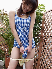 Haruka shows off her body in her teeny bikini as she is thinking of a good fuck