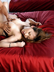 Slutty Asian chick shows off fine big tits and hairy pussy while she is fucking