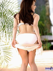 Asian undies model strips off to show off her hot pussy and ass before a date