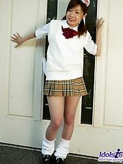 Yuka enjoys teasing cock when she is modeling her short skirts