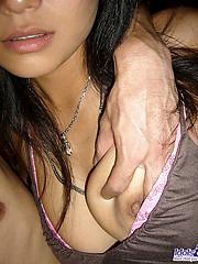 Japanese slut Asami has an excellent ass hiding under that purple sexy thong