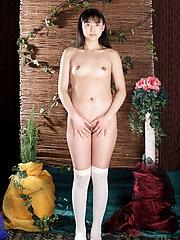 Asian slut is waiting in her school girl costume for her next willing customer