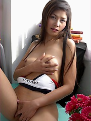 Thai sex pot Izabell Manabe is so seductive as she strips out of her tight panties and shows off her sexy curves.