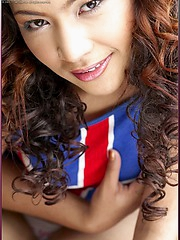 Long curly haired asian model Piczy Pure