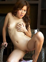 Horny slut strips out of her polka dot dress