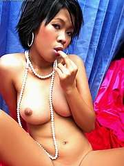 A saucy Asian treat Raffie Kong with sweet pink and hard tits