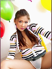 Cha Cha strips out of her tight striped sweater