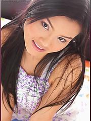 Jib Jarinya spreading her hairy asian pussy