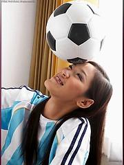 Busty Asian soccer babe Irene Fah