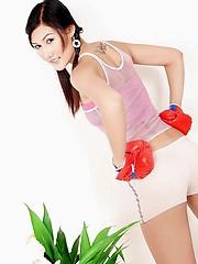 Fitness buff Jennifer Lee wearing a backwards tank top