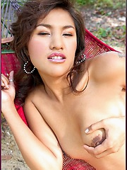 Naked Asian babe Pajaree Buabun is one with nature