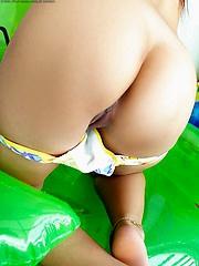 Hot bodied bikini bandit Iko Yeung in braids