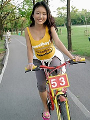 Vivian Lin bicycles home to play with her toys