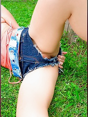 Olive Moon removes her tight jean skirt