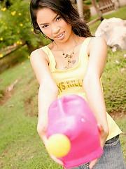 Popular Thai softcore model Amara Bhunawat watering her bush
