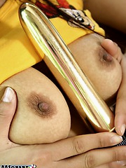Churai removes her shirt and skirt then rubs her hands over her body before pushing a vibrator into her fuck hole.