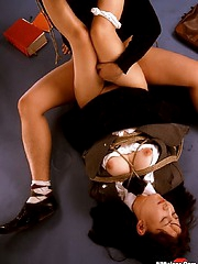 Asian babe get tied up and fingered
