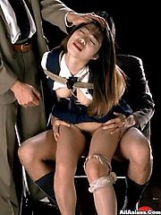 Bound office lady gets fucked and creamed on by two dudes