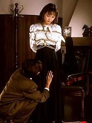 Young Asian schoolgirl loves bondage
