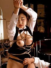 Asian babe bound fucked and still horny