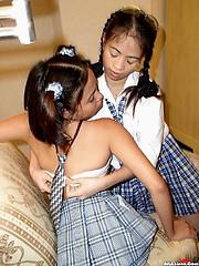 Schoolgirl lesbians learn what pussy tastes like