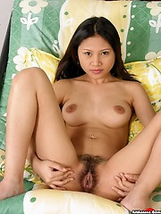 Asian plays with titties and hairy box
