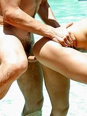 Juki has some wild poolside sex