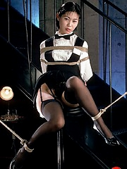 Pretty banguet server likes to be roped when off duty