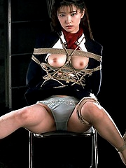 Lustful gal suck hard cock while tied up