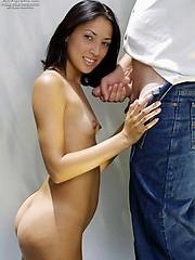 Ayla sucks hard cock outdoors
