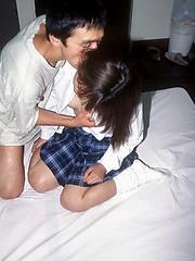 Schoolgirl Saori has bloody period sex