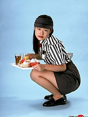 Cute fast food waitress gets all tied up with work