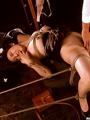 Asian slut tied and violated by 2 guys