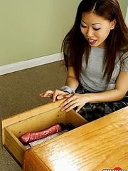 Asian gal Ayoko going wild on her dildo in school