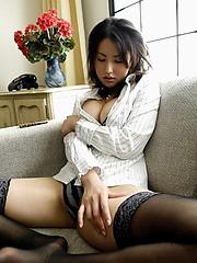 Solo hottie takako strips and flirts