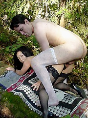 Almond gets fucked by lucky white dude in the woods
