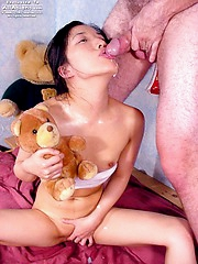 Almond swallows a nice fresh load of gooey cum
