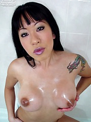 Asian gal Maja banging herself in the shower