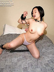 Naughty slut gets chained up in the bedroom