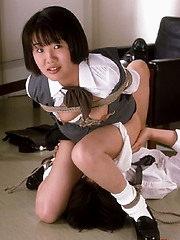 Innocent bound asian get fucked
